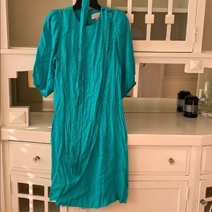 Dresses & Skirts - 80's turquoise rayon dress
